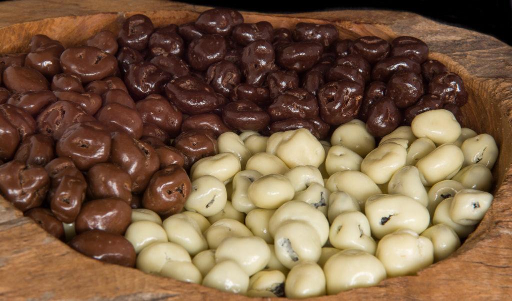 Biologische rozijnen chocolade coating drageren