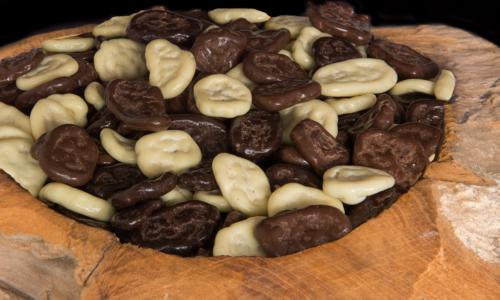 biologische bananen banaanschijf chocolade coating drageren
